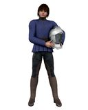 Knight's Squire. 3D Digital render of a young Medieval squire holding a knight's helmet Royalty Free Stock Images