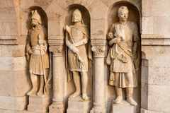 Knight sculptures in Fisherman's Bastion, Budapest, Hungary Stock Photos