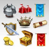 Knight set. Illustration of knight set icons Stock Images