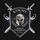 Knight shield and helmet vintage badge logo vector. Knight shield and helmet vintage badge logo design template vector royalty free illustration