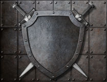 Knight shield and two swords over armor plates stock illustration