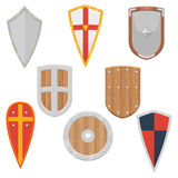 Knight Shields set from the Middle Ages vector illustration Royalty Free Stock Photos