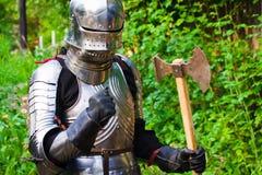 Knight in shining armor stock image