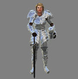 Knight in shining armor. 3d rendered illustration of a knight in armor in a relaxed pose Royalty Free Stock Photo