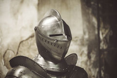 Knight in shining armor. Detail metal helmets. Medieval warrior Stock Photos
