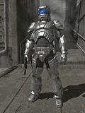 Knight In Shining Space Armour. A Space Marine commander in reflective laser-repelling armour at rest in the urban jungle Royalty Free Stock Photos