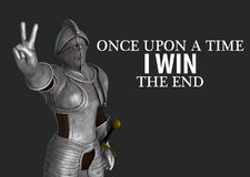 Knight Showing Victory Win Sign Illustration Stock Images