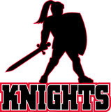 Knight silhouette shield sword Stock Photography
