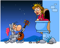 Knight sings a serenade under the balcony Stock Images
