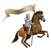Knight with spear and banner. A knight with spear and banner mounted on a powerful horse Stock Image