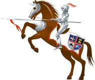 Knight-4-3. Knight with a spear on horse. White background Stock Photos