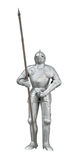 Knight with spear and sword. Knight armour stand with spear and sword front view isolated on white with clipping path Stock Photography