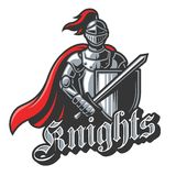 Knight sport logo in color. Color knight sport logo on white background. Perfect for sport team mascot Stock Photo