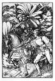 Knight and squire, woodcut  ca. 1510 Royalty Free Stock Images