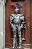 A knight standing guard. In front of the entrance Royalty Free Stock Images