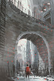 Knight standing under the old stone arch bridge. Knight in red cape with sword standing under the old stone arch bridge, digital art style, illustration painting stock illustration