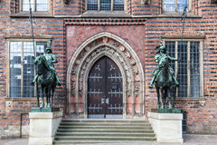 Knight statue in Bremen Stock Photos