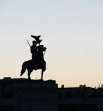 Knight statue. China's Inner Mongolia knight statue silhouette stock photography