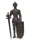 Knight Statuette. Metal knight statuette isolated on white background Stock Photo