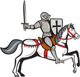Knight Steed Wielding Sword Cartoon Stock Photography