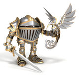 Knight with a steel bird Stock Image