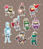 Knight stickers. Cartoon vector illustration Royalty Free Stock Images