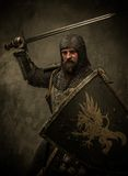 Knight with sword. Medieval knight in attack position Royalty Free Stock Photography
