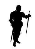 Knight. Black shape of the knight with the sword on the white background Stock Photography