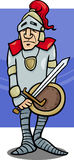 Knight with sword cartoon illustration. Cartoon Illustration of Knight in Armor with Sword and Shield Royalty Free Stock Image