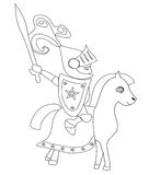 Knight with sword riding on a horse. Vector Illustration Royalty Free Stock Images