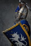 Knight with a sword and shield attacking. Medieval knight in attack position Stock Image
