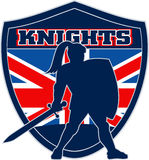 Knight sword shield british flag. Illustration of a Knight silhouette with sword and shield facing side with GB Great Britain British union jack flag in Royalty Free Stock Photo