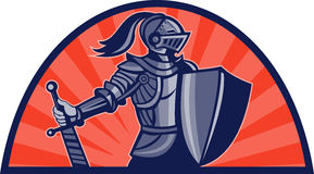 Knight sword shield facing side Stock Photography