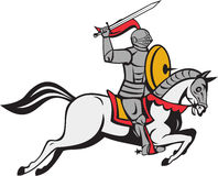 Knight Sword Shield Steed Attacking Cartoon Royalty Free Stock Photography
