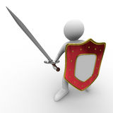 Knight with sword on white background Royalty Free Stock Photos