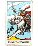 Knight of Swords Tarot Card Chatty Talkative Public Speaking Vocal Literal Cool Swift Action Speed Rush Hasty Rebellious. Knight of Swords Tarot Card. Blunt royalty free stock photo