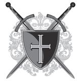 Knight swords. Two crossed knight of the sword and shield of the Crusader. Knight swords. Knight swords. Two crossed knight of the sword and shield of the Stock Photos