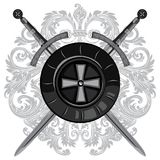 Knight swords. Two crossed knight of the sword and shield of the Crusader. Knight swords. Knight swords. Two crossed knight of the sword and shield of the Royalty Free Stock Images