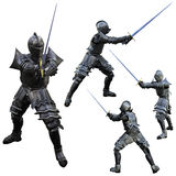 Knight Swordsman. Knight in Full Armour, 3D render with multiple views Royalty Free Stock Photo