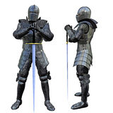 Knight Swordsman. In Full Armour, 3D render Royalty Free Stock Image