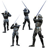 Knight Swordsman. In Full Armour, 3D render in multiple views Stock Images