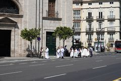 May procession at Templar Church and Palace in Valencia, Spain royalty free stock images