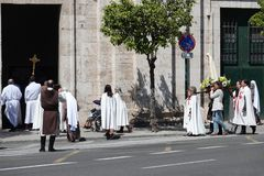 May procession at Templar Church and Palace in Valencia, Spain royalty free stock photo