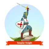 Knight Templar na armadura com protetor e espada ilustração do vetor