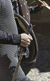 Knight Templar with sword. Detail closeup of a Knight Templar sword Stock Photography