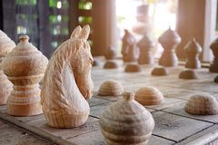 Knight of Thai chess. Carving from wood Royalty Free Stock Photo