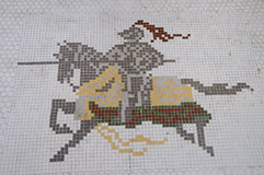 Knight tile drawing. Artistic tile design with knight and horse drawing stock image