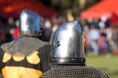 Knight Tournament. Two Knights Take Centre Stage During A Medieval Knight Tournament For A Chance To Be Knighted By The King Royalty Free Stock Photography