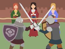 Knight tournament vector cartoon. Knight tournament - funny vector cartoon with two fighting foot knights and young female cheerleaders Stock Photos