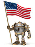 Knight with USA flag Royalty Free Stock Photo